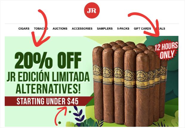 JR CIgars Flash Sale email