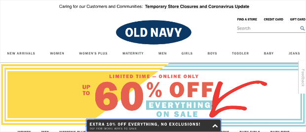 OldNavy Floating Bar at the Bottom of the screen min