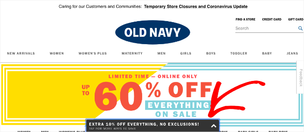 OldNavy Floating Bar at the Bottom of the screen