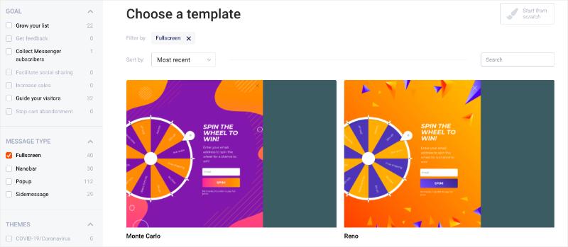 OptiMonk Fullscreen Choose a Template