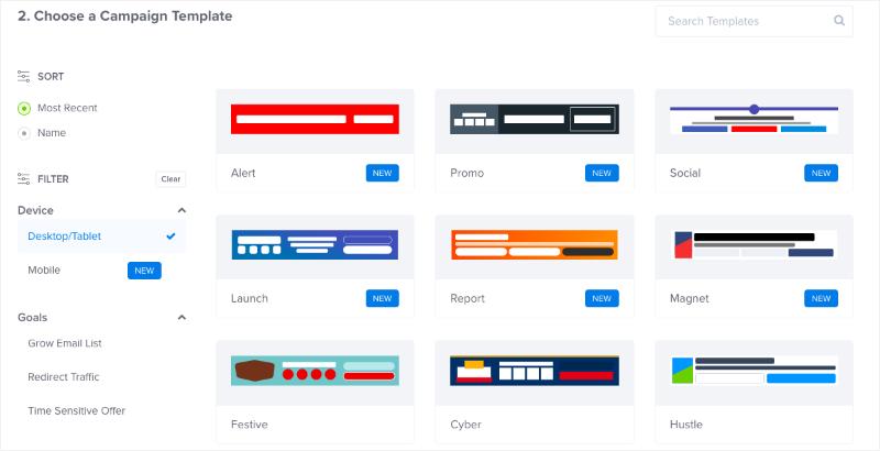 OptinMonster floating bar templates 2