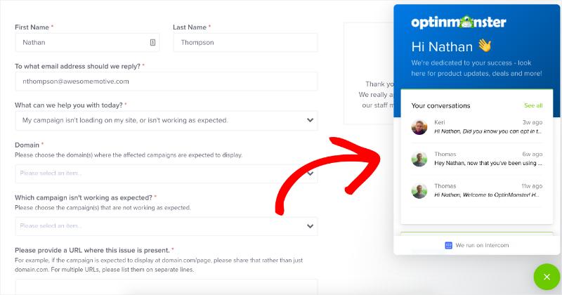 OptinMonster support 1