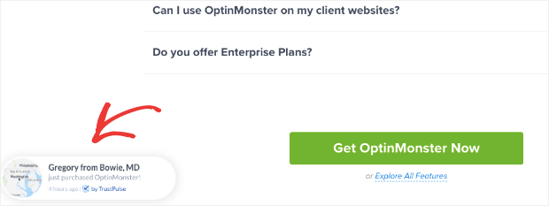 OptinMonster using TrustPulse
