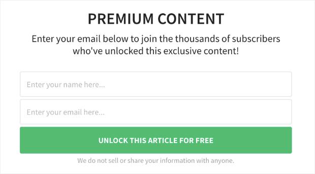 Premium Content Lock Example