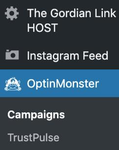 OptinMonster plugin lefthand side menu