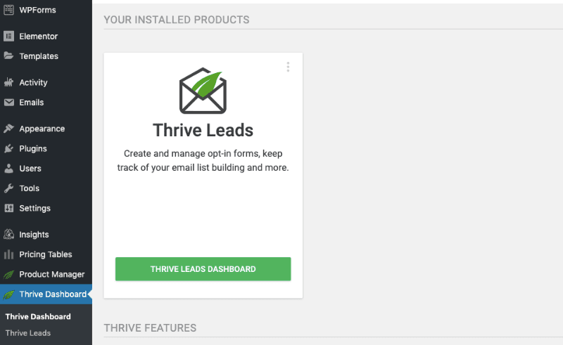 Thrive Leads Successfully Installed min