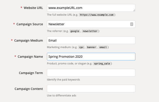 UTM Parameter with source medium and name min