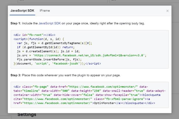 facebook code example