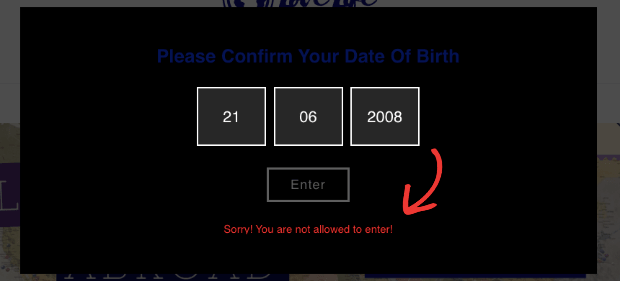 Age Verification Error Message