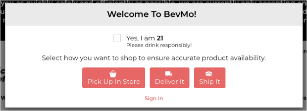 Age verification popup example by bevmo