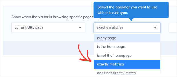 Change Current URL path to Exactly matches for age verification popup campaign