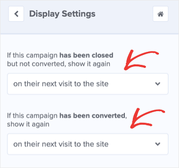Change Display settings to on their next visit to the site