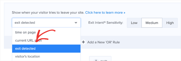 Change time on page to exit detected