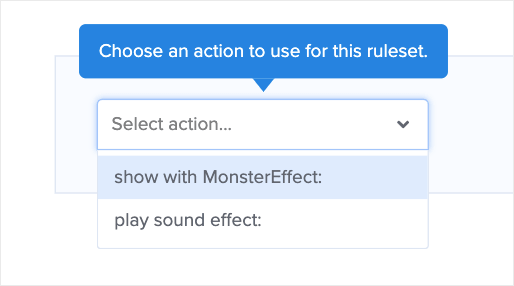 Choose MonsterEffect or Play Sound Effect for Popup Animation effects