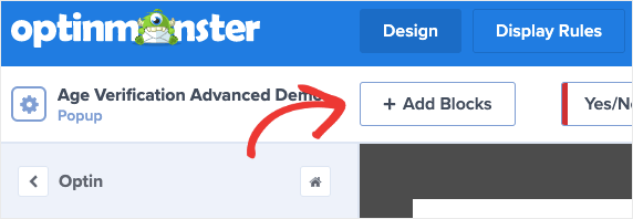 Click Add Blocks to Add custom HTML