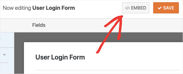 Click Embed to get the shortcode in WPForms min