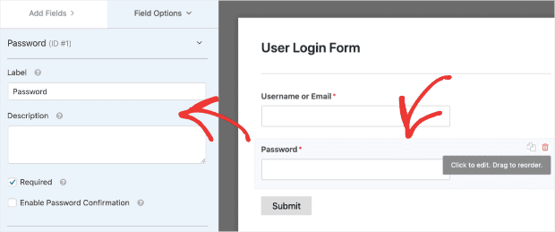 Click on the password field to add forgotten password option min