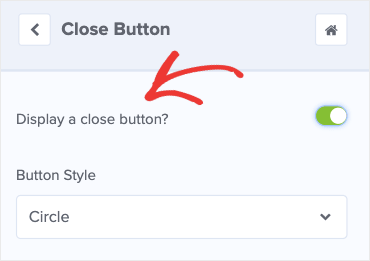Display a close button