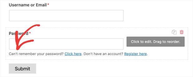 Forgot password or new registration