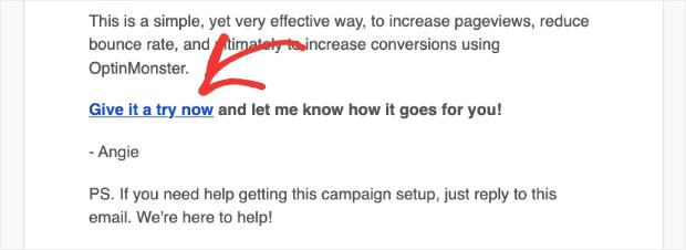 Campagne d'e-mail marketing B2B OptinMonster : appel à l'action min