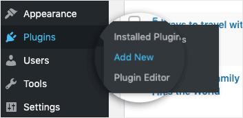 Plugins - Add New in WordPress dashboard