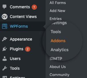 Select WPForms then Addons min