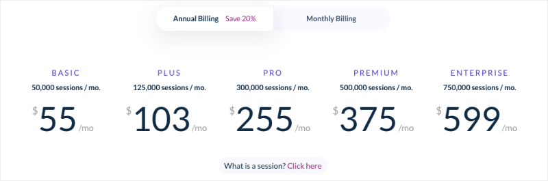 Sleeknote pricing page