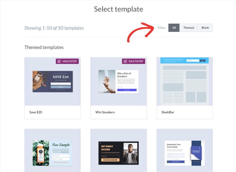 Sleeknote template selection min