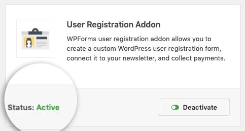 Status Active for User Registration Addon min