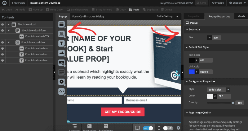 Unbounce editor too small min