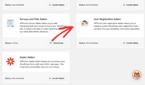 User Registration Addon option in WPForms min