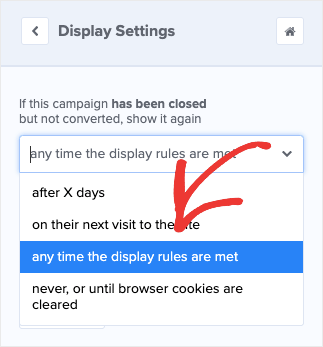 any time the display rules are met display setting
