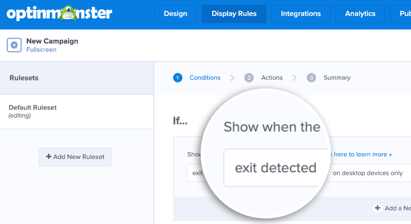 Choose exit-detected from the available display rules to stop abandoning visitors.