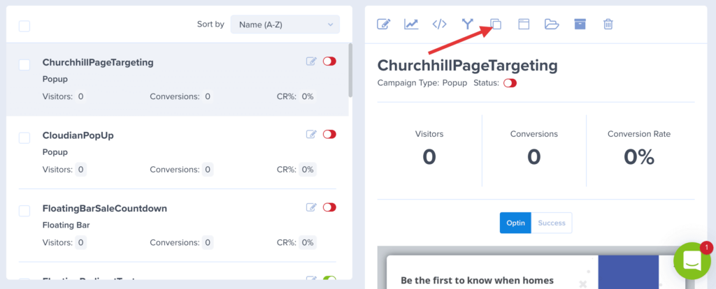 duplicate a campaign button
