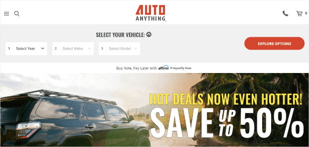 AutoAnything homepage example - how does optinmonster work
