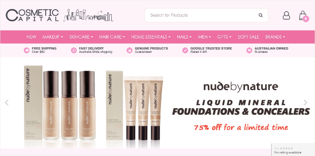 Cosmetic Captial homepage