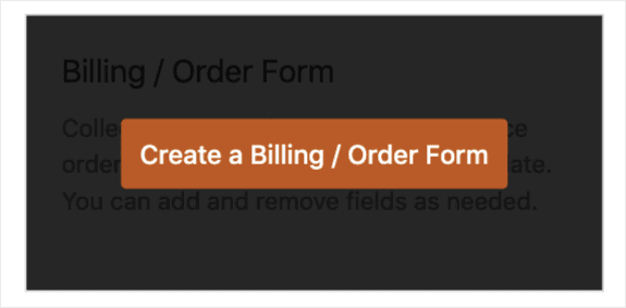 Create a Billing Order Form