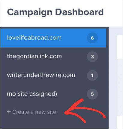Create a new site min