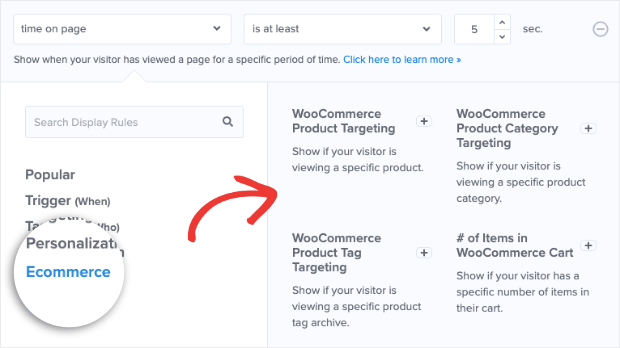 Ecommerce filter brings up woocommerce options