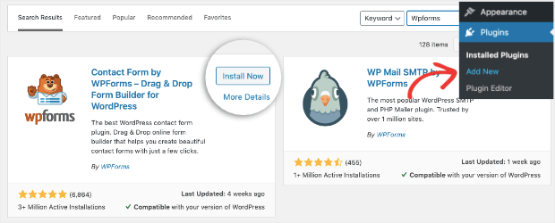 Install Now WPForms