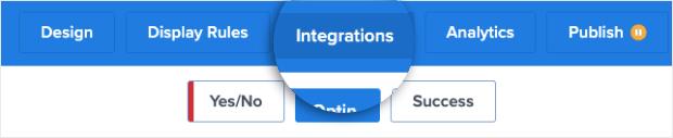Integrations at the top menu