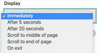 MailChimp display settings