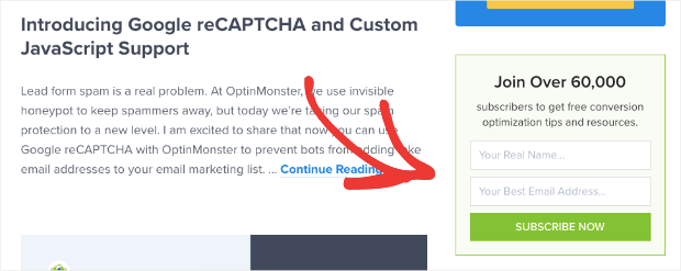 OptinMonster sidebar form for review