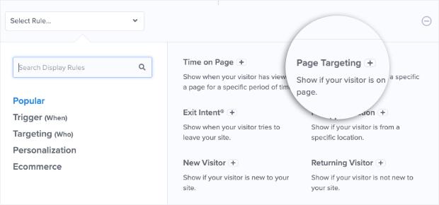 Page Targeting display rule from dropdown menu