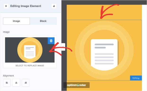 Pull up image editing menu