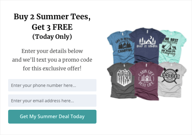 SMS Popup summer deal