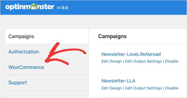 WooCommerce in OptinMonster plugin dashboard