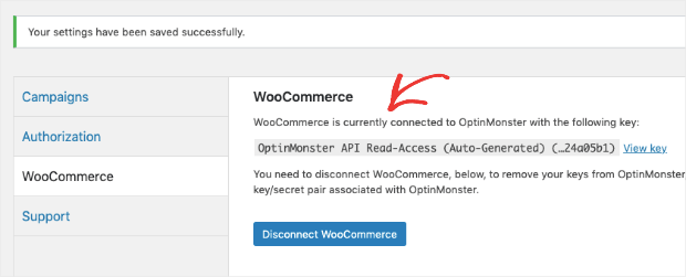 WooCommerce success message connected to OptinMonster