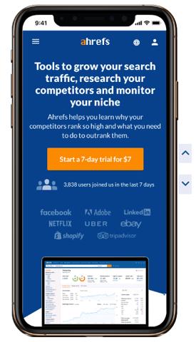 ahrefs homepage mobile