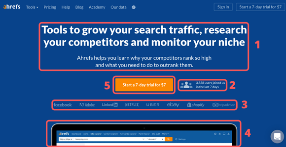 ahrefs homepage design